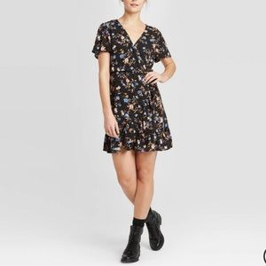 Xhilaration Black Floral Wrap Style Mini Dress S